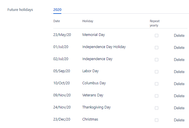 Edit the list of holidays that you want to keep